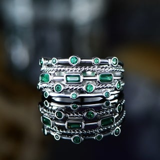 Link to 18K White Gold Plated 5 Layer Green Emerald Ring Similar Items in Rings