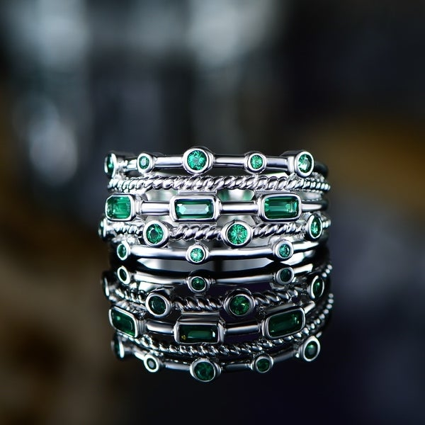 18K White Gold Plated 5 Layer Green Emerald Ring. Opens flyout.