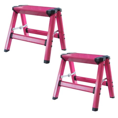 AmeriHome Lightweight Single Step Aluminum Step Stool 2 Piece Set