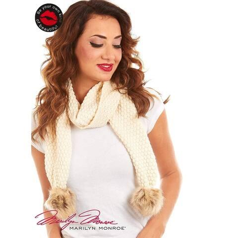 Marilyn Monroe Women Bubble Knit Oblong Scarf With Faux Pom Pom