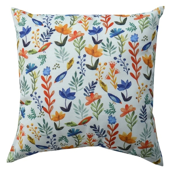 Decorative Throw Pillow, Bird Floral, 18""