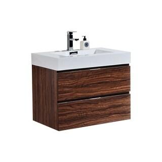 "Bliss 30"" Walnut Wall Mount Modern Bathroom Vanity"