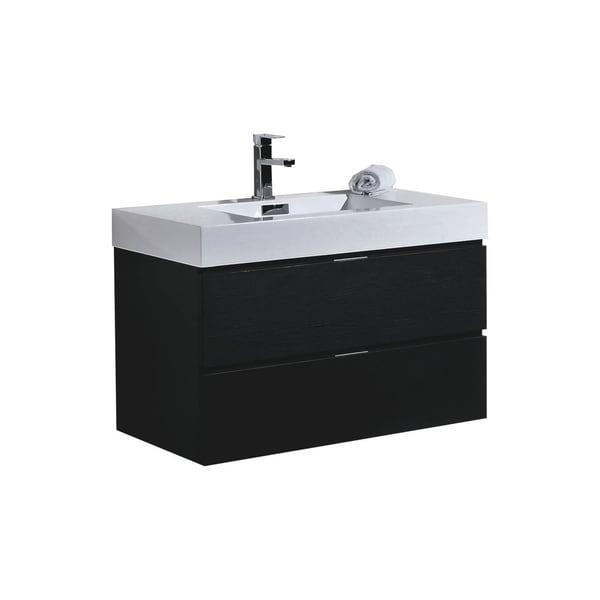 "Bliss 36"" Black Wall Mount Modern Bathroom Vanity"