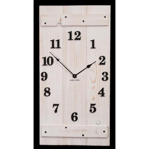 """Precious Melodies Clock - Rustic Whitewash Clock with """"At the Foot of the Cross"""" Chimes"""