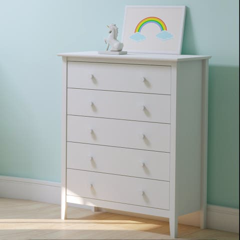 Taylor & Olive Snowberry 5-drawer Pine Wood Tall Storage Dresser