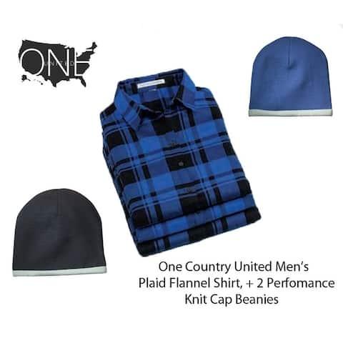 Men's Plaid Flannel Shirt, Plus 2 Performance Knit Cap Beanies