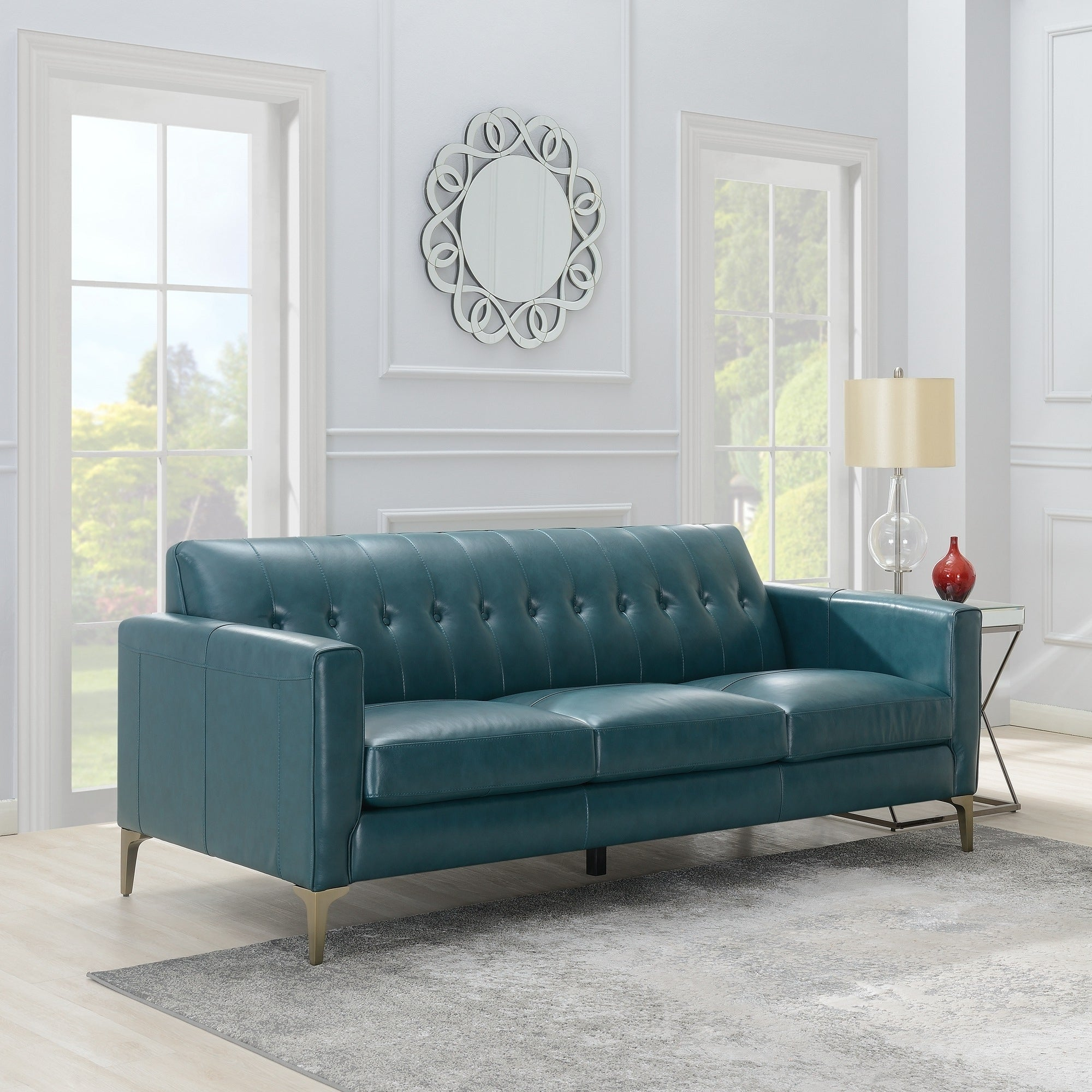 - Shop Copper Grove Solwezi Turquoise Leather Sofa With Nailhead