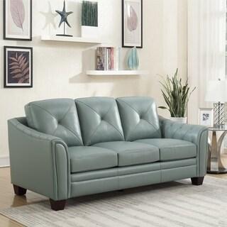 Copper Grove Baclieu Seafoam Tufted Leather Sofa