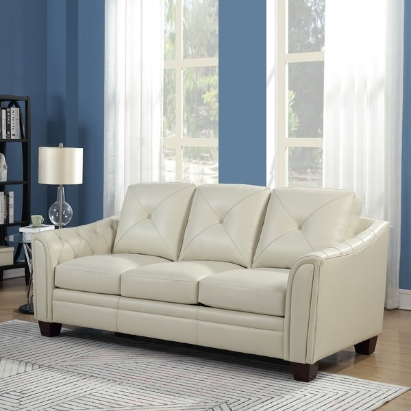 """Copper Grove Baclieu Tufted Ivory Leather Sofa - 86""""W x 39""""D x 36""""H. Opens flyout."""