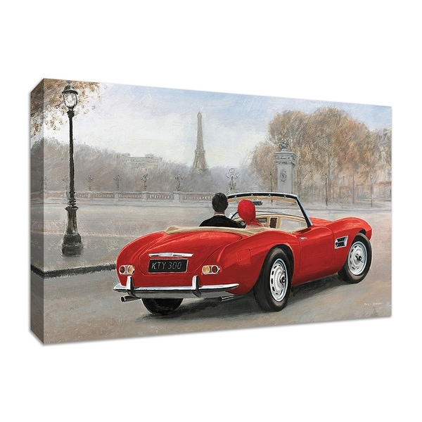 """""""A Ride in Paris III Red Car"""" by Marco Fabiano, Fine Art Giclee Print on Gallery Wrap Canvas"""