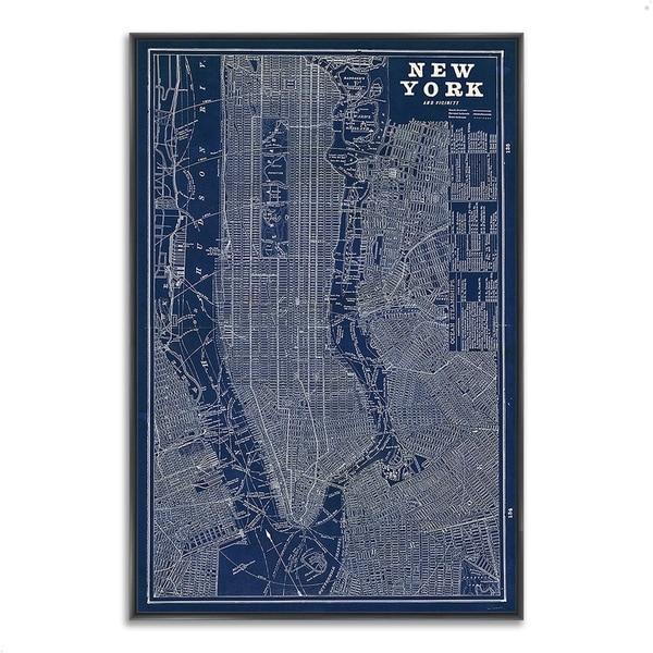 """Blueprint Map New York"" by Sue Schlabach, Fine Art Giclee Print on Gallery Wrap Canvas"