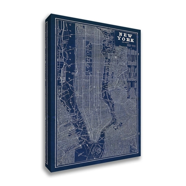 """Blueprint Map New York"" by Sue Schlabach, Fine Art Giclee Print on Gallery Wrap Canvas"