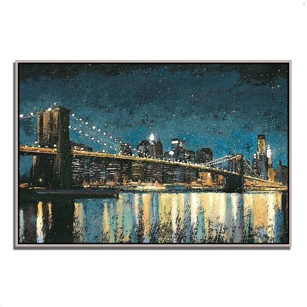 """""""Bright City Lights Blue I"""" by James Wiens, Fine Art Giclee Print on Gallery Wrap Canvas"""