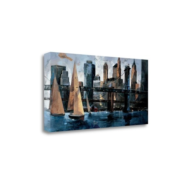 """Sailboats In Manhattan II"" By Marti Bofarull, Giclee on Gallery Wrap Canvas"
