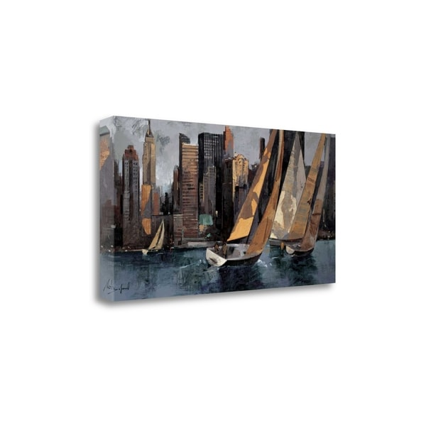 """""""Sailboats In Manhattan I"""" By Marti Bofarull, Giclee on Gallery Wrap Canvas"""