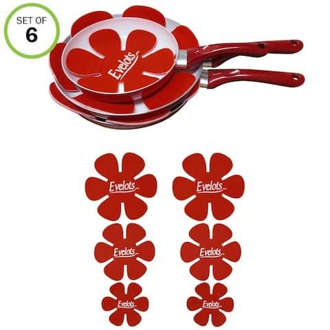 Evelots Pot/Pan Scratch Protector-Soft Felt-Ceramic/Glass/Cookware-3 Sizes-S/6 - Set of 6