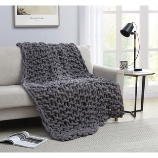 Asher Home Chunky Knit Chenille Throw Blanket
