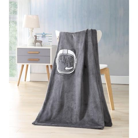Asher Home Kids Astronaut Gray Throw Blanket