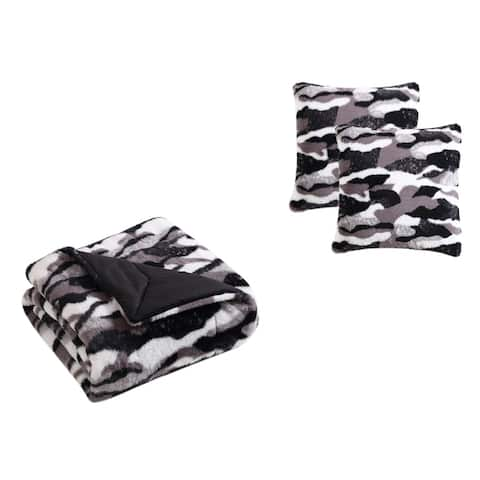 Asher Home Edith Faux Fur Throw Blanket and Pillow Cover Set