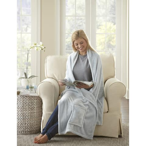 Porch & Den Lonny Plush Wrap Shawl Throw Blanket with Pockets