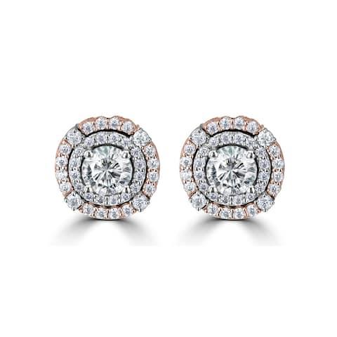 1.13ct TDM Two Tone Double Halo Moissanite Earrings 14 Karat White & Rose Gold