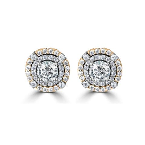 1.13ct TDM Two Tone Double Halo Moissanite Earrings 14 Karat White & Yellow Gold
