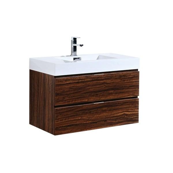 "Bliss 36"" Walnut Wall Mount Modern Bathroom Vanity"