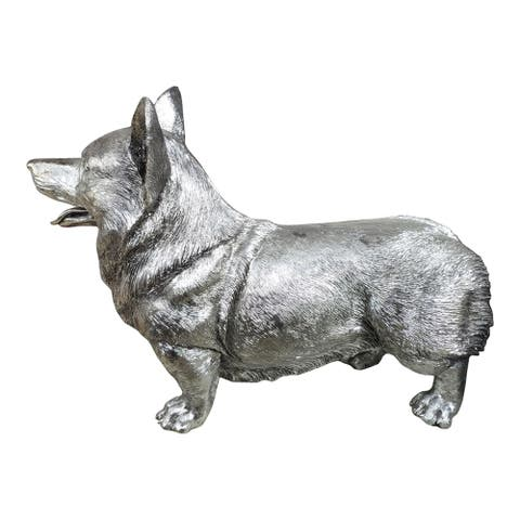 "Aurelle Home Modern Silver Resin Lifelike Size Corgi Statue - 21"" Wide x 16"" High"