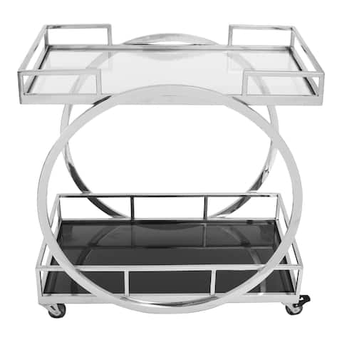 Aurelle Home Modern Silver Stainless Steel Glass Top Bar Cart