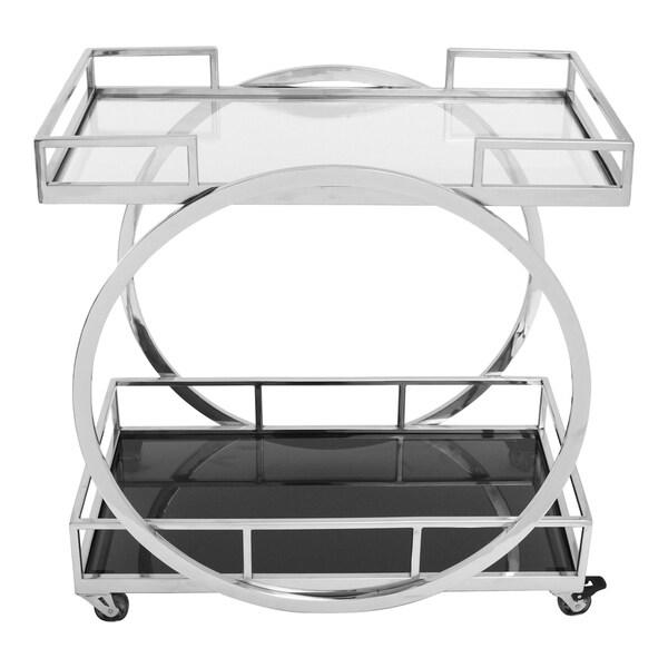 Aurelle Home Modern Silver Stainless Steel Glass Top Bar Cart. Opens flyout.