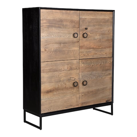 "Aurelle Home Hedge Modern Oak and Mango Wood 4-door Cabinet - 45"" wide x 55"" high"