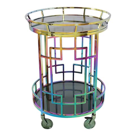 "Aurelle Home Modern Rainbow Stainless Steel Glass Top Bar Cart - 25"" wide x 34"" high - 25"" wide x 34"" high"