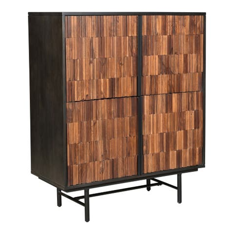 "Aurelle Home Janelle Modern Mango and Sheesham Wood 4-door Cabinet - 37"" wide x 47"" high"