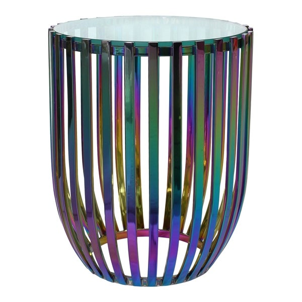 """Aurelle Home Modern Rainbow Stainless Steel Glass Top Side Table - 18"""" wide x 22"""" high - 18"""" wide x 22"""" high. Opens flyout."""