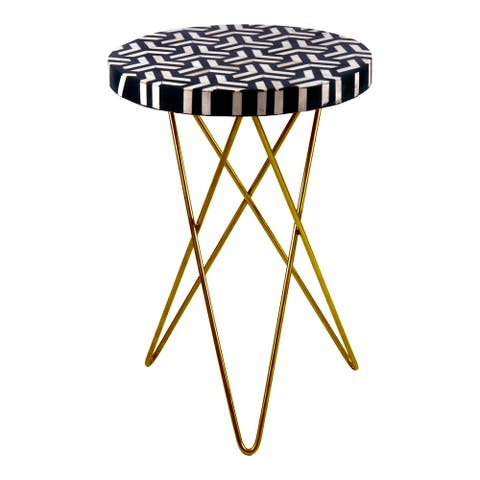"Aurelle Home Modern Black and White Accent Table with Hairpin Base - 16"" wide x 21"" High"