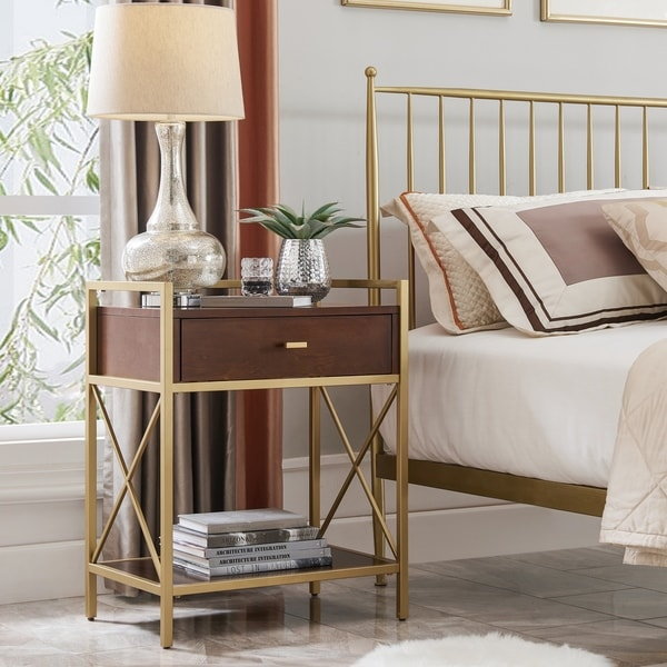 Silver Orchid Beyers Gold Metal and Wood Night Stand/Side Table