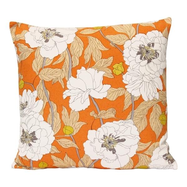 "Stratton Home Decor Vintage Orange Floral 18"" Square Pillow"
