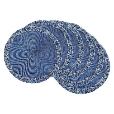 DII Nautical Blue Round Fringed Placemat Set/6