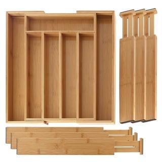 SleekDine Bamboo Expandable Drawer Organizer & 6 Bamboo Drawer Dividers