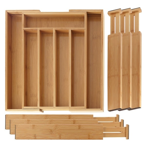 SleekDine Bamboo Expandable Drawer Organizer & 6 Bamboo Drawer Dividers