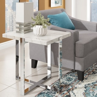 Azel Faux Marble-top Chrome Framed End Table by iNSPIRE Q Modern