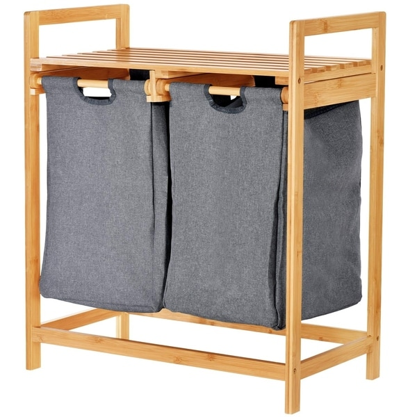 ToiletTree Products Bamboo Laundry Hamper with Dual Compartments–Two-Section Laundry Basket with Removable Sliding Bags & Shelf. Opens flyout.