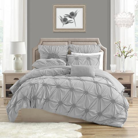 Silver Orchid Breamer Floral Pleated Duvet Cover