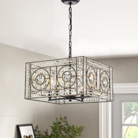 Silver Orchid Lang 4-light Crystal Chandelier
