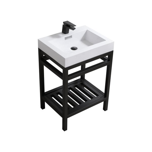 """Cisco 24"""" Stainless Steel Console w/ White Acrylic Sink - Matte Black"""