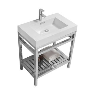 """Cisco 30"""" Stainless Steel Console w/ White Acrylic Sink - Chrome"""