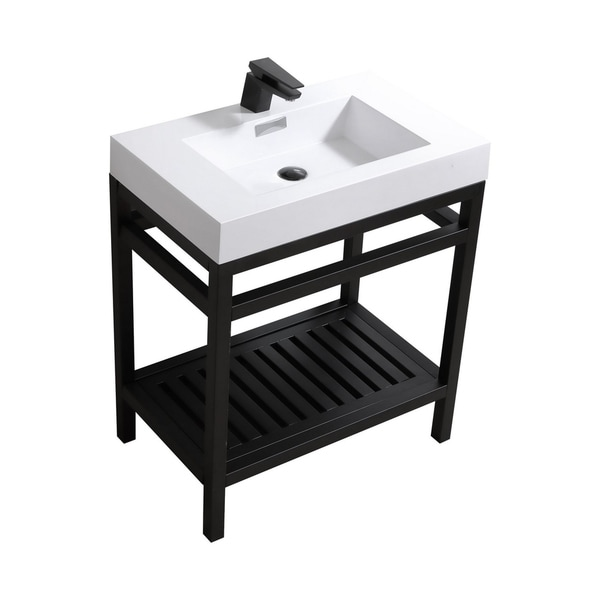 """Cisco 30"""" Stainless Steel Console w/ White Acrylic Sink - Matte Black"""