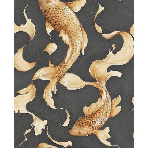 Metallic Koi Fish Wallpaper, 32.81 feet long X 20.5 inchs Wide, Metallic Gold and Ebony