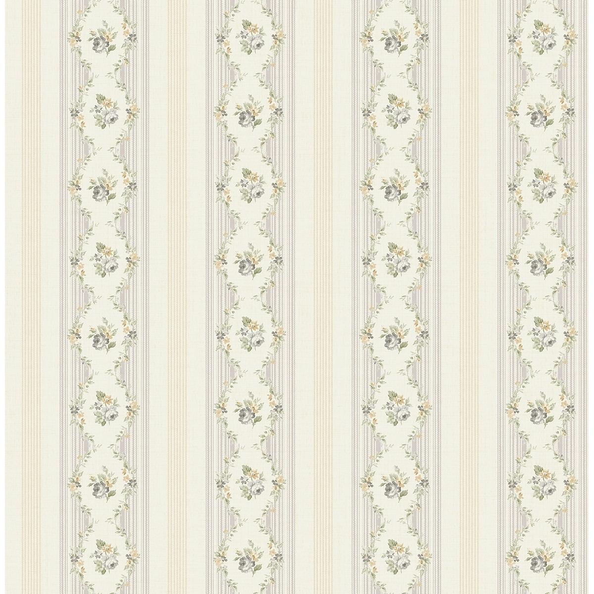 Shop Metallic Floral Stripe Wallpaper 32 81 Feet Long X 20 5