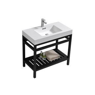 """Cisco 36"""" Stainless Steel Console w/ White Acrylic Sink - Matte Black"""